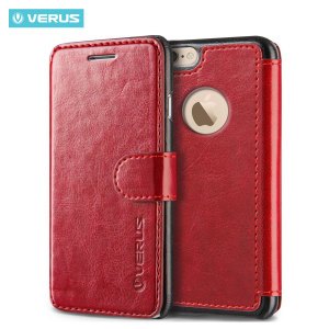 The Verus Dandy Wallet Case in wine red for the iPhone 6S Plus/6 Plus comes complete with card slots, a large document pocket and is made with a luxurious leather-style material for a classic, prestige and professional look.