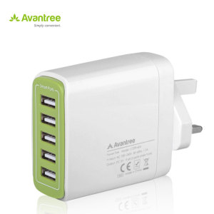 Ideal for use by your desk, bedside or whilst on your travels, this Avantree mains charger in white includes 5 USB smart ports totalling an impressive 9.6 Amps output for recharging your smartphone or even power hungry tablet devices quickly.