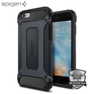 Let the Tough Armor Tech case in metal slate protect your iPhone 6S / 6, whilst keeping it incredibly slim. The flexible TPU and hard polycarbonate exterior combine perfectly and also feature Spigen's Air Cushion technology for extreme protection.