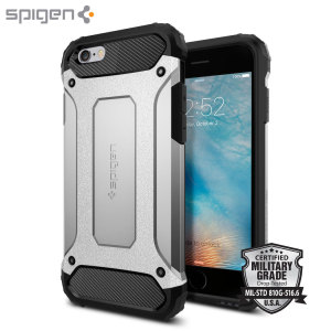 Let the Tough Armor Tech case in satin silver protect your iPhone 6S / 6, whilst keeping it incredibly slim. The flexible TPU and hard polycarbonate exterior combine perfectly and also feature Spigen's Air Cushion technology for extreme protection.