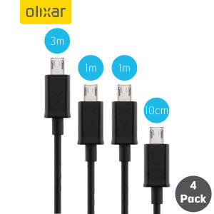 Equip yourself with a cable for every occasion with the Olixar assorted length Micro USB cables in black. Ranging from 10cm, which are ideal for use with power banks, all the way to 3m, perfect for when your power source is in a hard to reach spot.