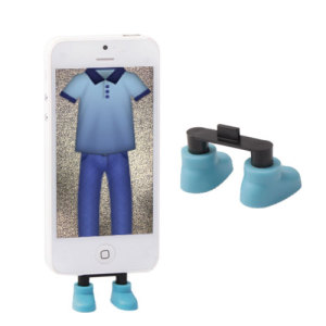 Attractive, useful and more importantly, fun! - this novelty pair of shoes in blue will stand your Lightning compatible iPhone upright so you can view notifications, take part in video calls and simply admire your phone in this new comical perspective.