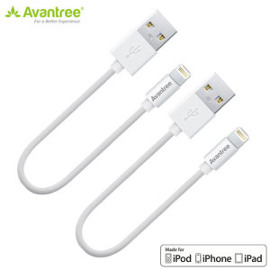 Conveniently sized, the twin pack of Avantree MFI lightning to USB cables in white measure only 0.3cm making it for use with power banks and computer ports. Working with any Apple Lightning device including iPhones, iPads and iPods.