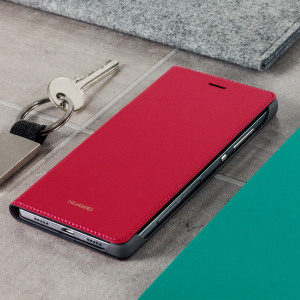 Protect your Huawei P8's screen from harm and keep your phone looking stylish with this official leather-style flip case in red.