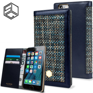 Beautifully crafted from Belgian Fabric and genuine Calf Skin Leather, this blue wallet case from SLG is the perfect and most stylish way to protect your iPhone 6S / 6, whilst storing your credit cards, ID and cash in one sophisticated package.
