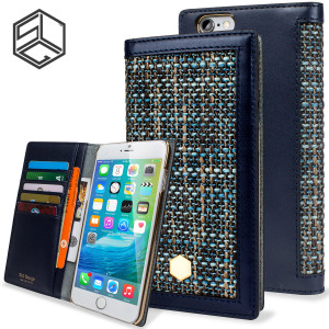 Beautifully crafted from Belgian Fabric and genuine Calf Skin Leather, this Navy wallet case from SLG is the perfect and most stylish way to protect your iPhone 6S Plus / 6 Plus, whilst storing your credit cards, ID and cash in one sophisticated package.