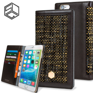 Beautifully crafted from Belgian Fabric and genuine Calf Skin Leather, this brown wallet case from SLG is the perfect and most stylish way to protect your iPhone 6S Plus / 6 Plus, whilst storing your credit cards, ID and cash in one sophisticated package.
