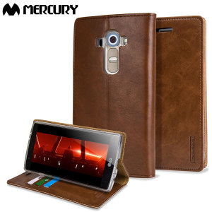 The Mercury Blue Moon Wallet case in brown for the LG G4 delivers exceptional style in a slim and sleek package. Crafted from premium materials, the case looks amazing and features slots for your cards and documents.