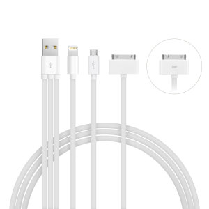 Ideal for travel, the 4-in-1 Charging cable supports the charging of multiple mobile devices on the go. Compatible with Apple Lightning , Micro USB, 30 Pin and Samsung tab devices.