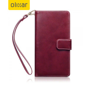 A sophisticated lightweight red leather-style case with a magnetic fastener. The Olixar Premium genuine leather wallet case offers perfect protection for your Microsoft Lumia 950 XL, as well as featuring slots for your cards, cash and documents.