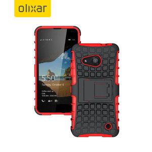 Protect your Nokia Lumia 550 from bumps and scrapes with this red ArmourDillo case. Comprised of an inner TPU case and an outer impact-resistant exoskeleton, the Armourdillo not only offers sturdy and robust protection, but also a sleek modern styling.