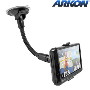 Arkon's Garmin Nuvi Windshield Suction Car Mount with Gooseneck works with the Garmin nuvi 40, 50, 200, 2013, 24x5 and 25x5 Series GPS. Includes a 8.5 inch flexible gooseneck.