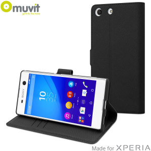 This Wallet Folio Case by Muvit in black houses the Sony Xperia M5 within a form fitting case and encloses it with a sophisticated cover, that has slots for your credit cards and folds into a media viewing stand.