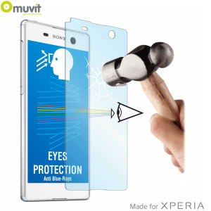With superb screen protection and rounded edges this premium tempered glass protector from Muvit is the perfect choice for the Sony Xperia M5. This  protector also has anti Blue-ray technology built into it.