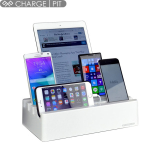 The Charge Pit 6-Port Universal Charging Station in arctic white is a perfect solution for charging multiple devices at home or at the office. It can fast charge up to six Apple or Android devices simultaneously with its 10A high output