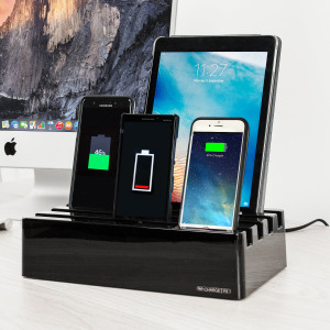 The Charge Pit 6-Port Universal Charging Station in piano black is a perfect solution for charging multiple devices at home or at the office. It can fast charge up to six Apple or Android devices simultaneously with its 10A high output.