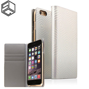Crafted with a leather finish and complemented by a sleek holographic exterior, this silver wallet case from SLG is the perfect and most stylish way to protect your iPhone 6S Plus / 6 Plus, whilst storing your credit cards, ID and cash.