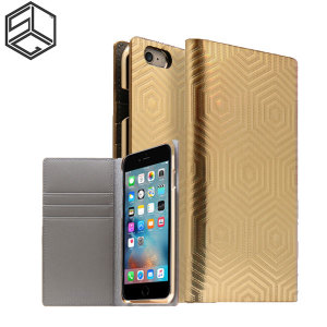 Crafted with genuine leather and complemented by a sleek holographic exterior, this gold wallet case from SLG is the perfect and most stylish way to protect your iPhone 6S / 6, whilst storing your credit cards, ID and cash.