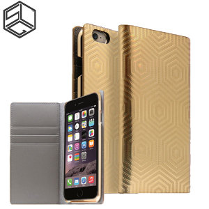 Crafted with a leather finish and complemented by a sleek holographic exterior, this gold wallet case from SLG is the perfect and most stylish way to protect your iPhone 6S Plus / 6 Plus, whilst storing your credit cards, ID and cash.