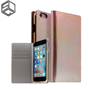 Crafted with a leather finish and complemented by a sleek holographic exterior, this rose gold wallet case from SLG is the perfect and most stylish way to protect your iPhone 6S / 6, whilst storing your credit cards, ID and cash.