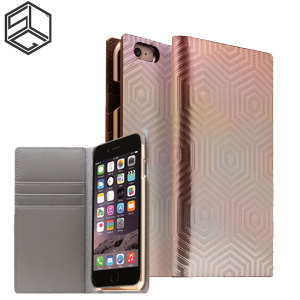 Crafted with a leather finish and complemented by a sleek holographic exterior, this rose gold wallet case from SLG is the perfect and most stylish way to protect your iPhone 6S Plus / 6 Plus, whilst storing your credit cards, ID and cash.