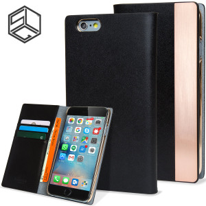 Crafted from genuine Calf Skin Leather and complimented by a sleek metal edge, this black wallet case from SLG is the perfect and most stylish way to protect your iPhone 6S / 6, whilst storing your credit cards, ID and cash.