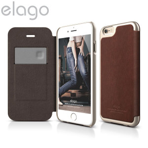 Funda Elago iPhone 6S Plus / 6 Plus Cuero con Tapa - Oro / Marrón