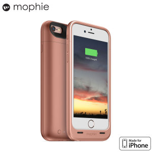 The Mophie Juice Pack in rose gold is a 2750mAh 'Made for iPhone' battery case with added power and protection made for the Apple iPhone 6S / 6. Equipped with over 100% extra battery to make it through the longest flights or busiest weekends.