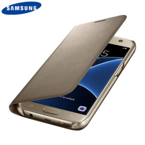 Protect your Samsung Galaxy S7's back, sides and screen from harm while keeping your most vital cards close to hand with the official gold flip wallet cover from Samsung.