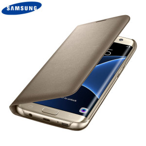 Protect your Samsung Galaxy S7 Edge's back, sides and screen from harm while keeping your most vital card close to hand with the official gold flip wallet cover from Samsung.
