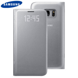 Flip Wallet Cover Officielle Samsung Galaxy S7 LED - Argent