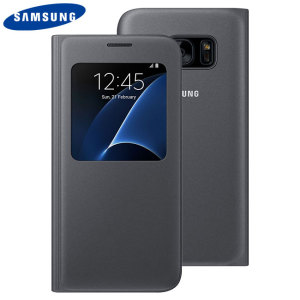 Ideal for checking the time or screening and answering incoming calls without opening the case. This black official Samsung S View Cover for the Samsung Galaxy S7 is slim and stylish.