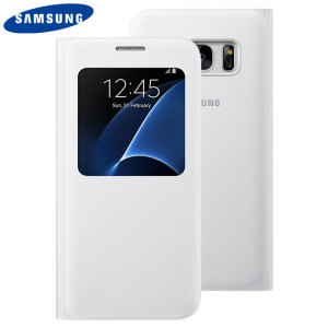 Ideal for checking the time or screening and answering incoming calls without opening the case. This white official Samsung S View Cover for the Samsung Galaxy S7 is slim and stylish.
