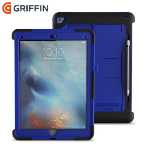 All the protection of a Griffin Survivor in a slimline package. The Survivor Slim in black and blue for the iPad Pro 12.9 2015 features a tough protection, sleek style, a media kickstand and a convenient holder for your Apple Pencil.