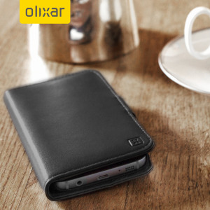 A sophisticated lightweight black genuine leather case with a magnetic fastener. The Olixar Premium genuine leather wallet case offers perfect protection for your Samsung Galaxy S7, as well as featuring slots for your cards, cash and documents.