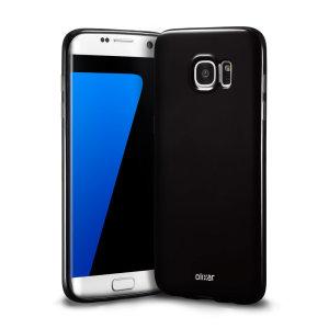 Custodia protettiva simile al cristallo ma con la durevolezza di una custodia in silicone per il Samsung Galaxy S7 Edge in nero.