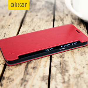 The Olixar leather-style Samsung Galaxy S7 Edge  Wallet Case in red provides enclosed protection and can also be used to hold your credit cards. The case also transforms into a viewing stand for added convenience.