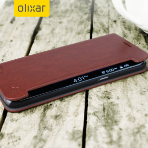 The Olixar leather-style Samsung Galaxy S7 Edge  Wallet Case in brown provides enclosed protection and can also be used to hold your credit cards. The case also transforms into a viewing stand for added convenience.