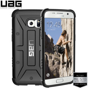 Urban Armour Gear for the Samsung Galaxy S7 features a protective TPU case in black with a brushed metal UAG logo insert for an amazing design.