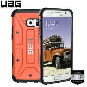 Urban Armour Gear for the Samsung Galaxy S7 features a protective TPU case in orange with a brushed metal UAG logo insert for an amazing design.