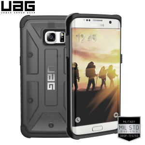 Urban Armour Gear for the Samsung Galaxy S7 Edge features a protective TPU case in ash with a brushed metal UAG logo insert for an amazing design.