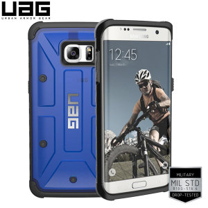 Urban Armour Gear for the Samsung Galaxy S7 Edge features a protective TPU case in blue with a brushed metal UAG logo insert for an amazing design.
