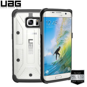 Urban Armour Gear for the Samsung Galaxy S7 Edge features a protective TPU case in ice with a brushed metal UAG logo insert for an amazing design.
