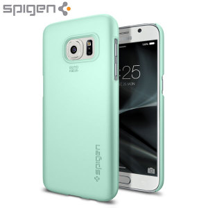 Durable and lightweight, the Spigen Thin Fit series for the Samsung Galaxy S7 offers premium protection in a slim, stylish package. Carefully designed the Thin Fit case in mint is form-fitted for a perfect fit.
