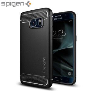 Treffen Sie die neu gestaltete robuste Hülle für das Samsung Galaxy S7 aus flexiblen, robusten TPU und mit einer mechanischen Konstruktion, einschließlich einer Kohlenstofffaserbeschaffenheit, die Ihr Handy sicher und schlank hält von Spigen.