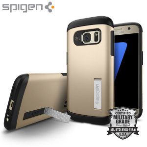The Slim Armour case in gold for the Samsung Galaxy S7 has shock absorbing technology specifically incorporated to protect the device from any angle.