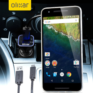 Keep your Nexus 6P fully charged on the road with this compatible Olixar high power dual USB 3.1A Car Charger with an included high quality USB to USB-C charging cable.