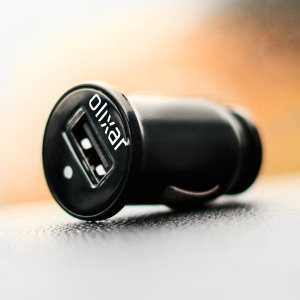 Keep your phone, sat nav or hands-free unit fully charged while travelling with the Olixar Universal USB miniature car charger in black, with 1A output and a built-in charging status LED.