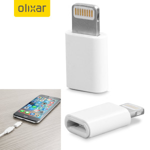 Use the white adapter to connect any Apple Lightning device to a Micro USB cable to sync and charge.