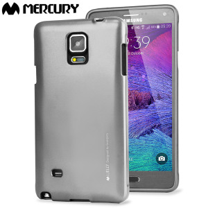 A premium gel case for your Galaxy Note 4. The Mercury Goospery Jelly features a superb metallic silver gloss UV finish and robust high quality TPU gel material that will take all the knocks and look fabulous while doing so.